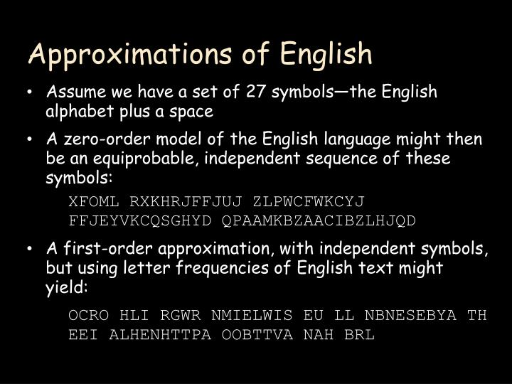 Approximations of English