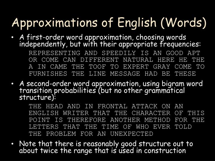 Approximations of English (Words)