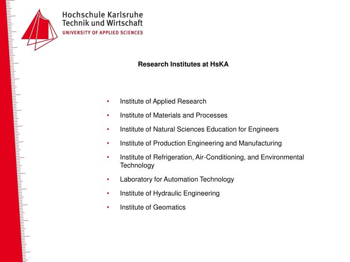 Research Institutes at HsKA