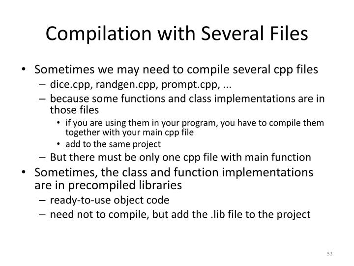 Compilation with Several Files