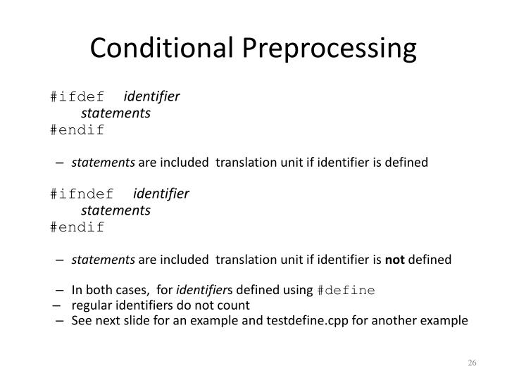 Conditional Preprocessing