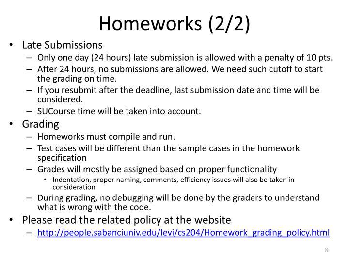Homeworks (2/2)