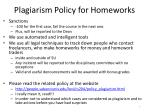 plagiarism policy for homeworks