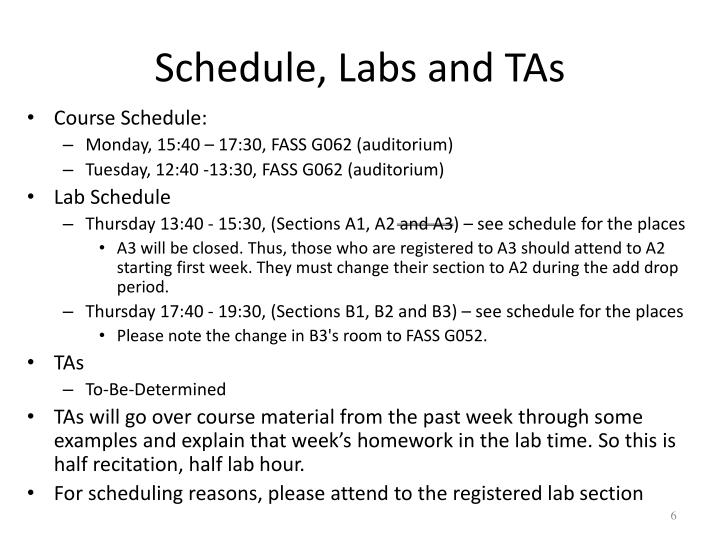 Schedule, Labs and TAs