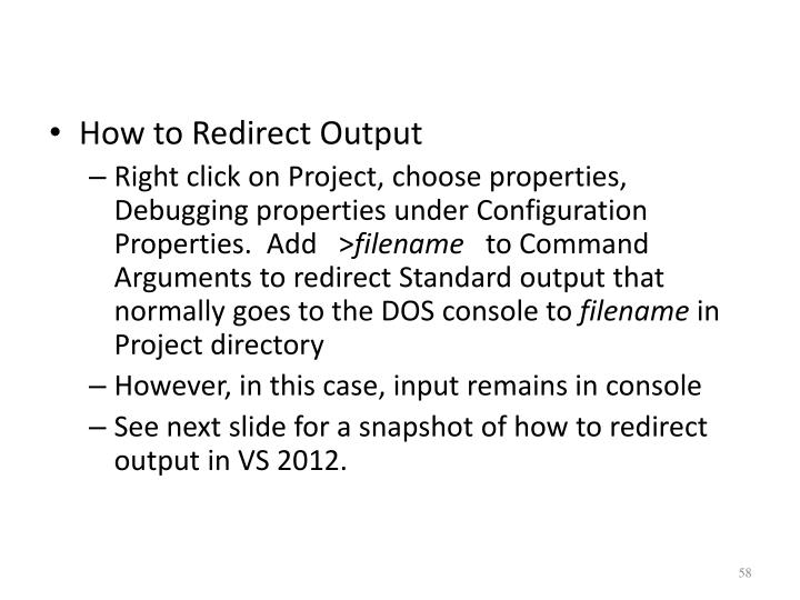 How to Redirect Output