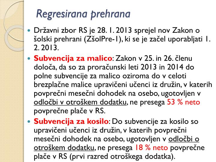 Regresirana prehrana
