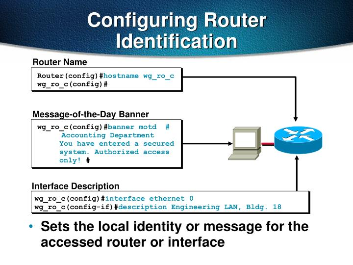 Sets the local identity or message for the accessed router or interface