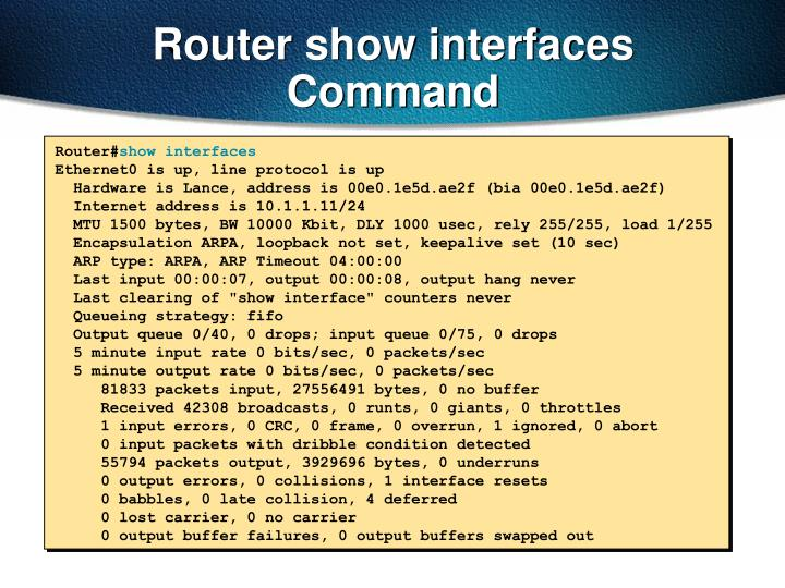 Router show interfaces Command