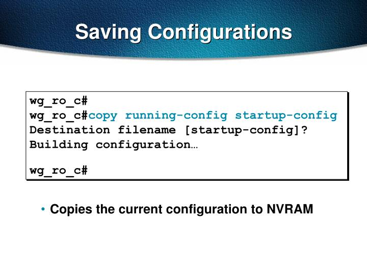 Saving configurations