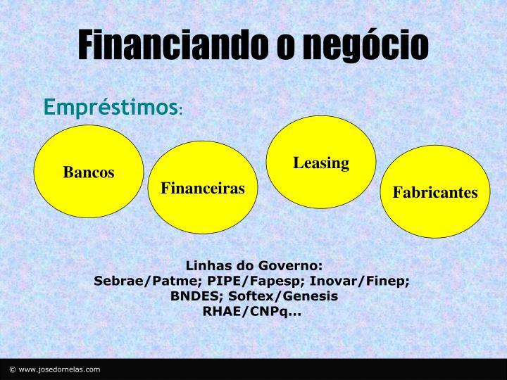 Financiando o negócio