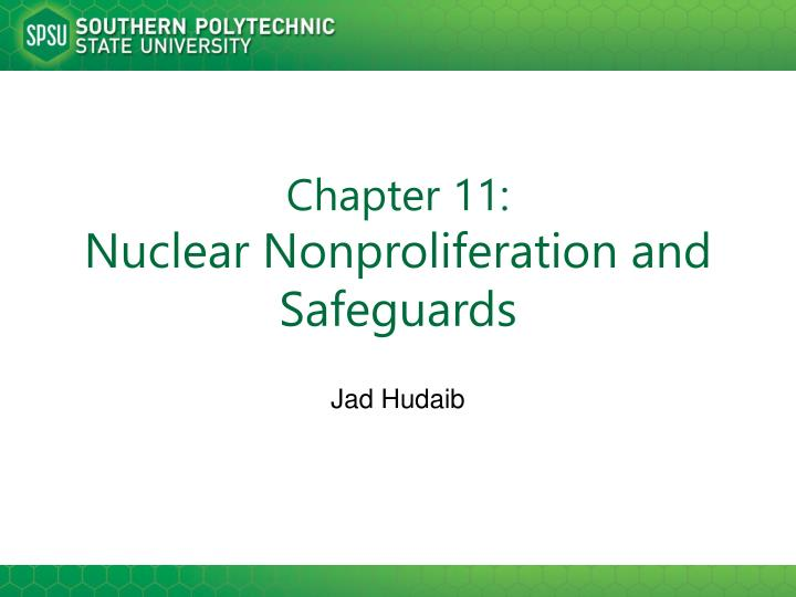 Chapter 11 nuclear nonproliferation and safeguards