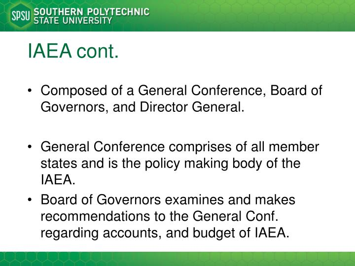 IAEA cont.