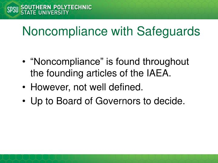 Noncompliance with Safeguards