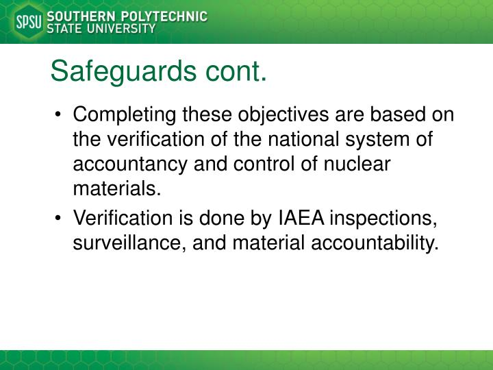 Safeguards cont.
