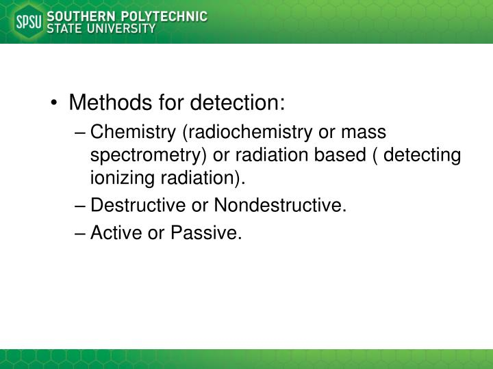 Methods for detection: