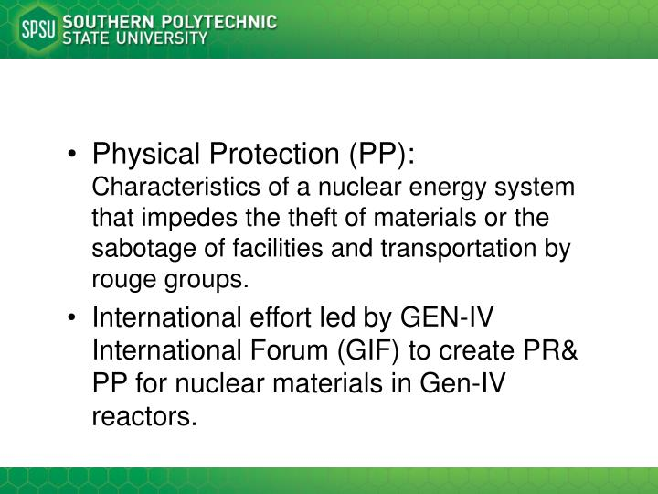 Physical Protection (PP):