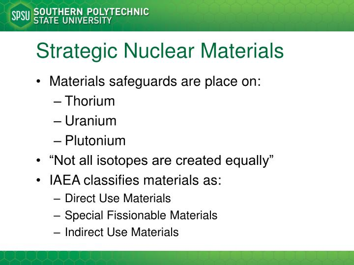 Strategic Nuclear Materials