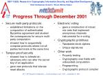 progress through december 2001