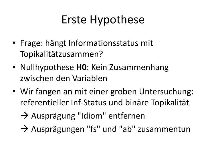 Erste Hypothese