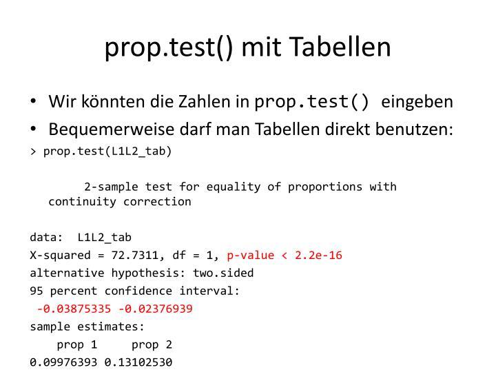 prop.test() mit Tabellen