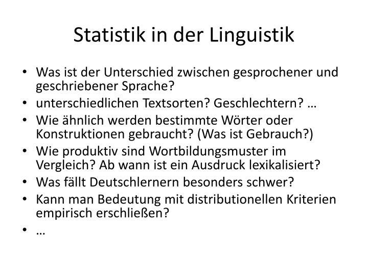 Statistik in der Linguistik