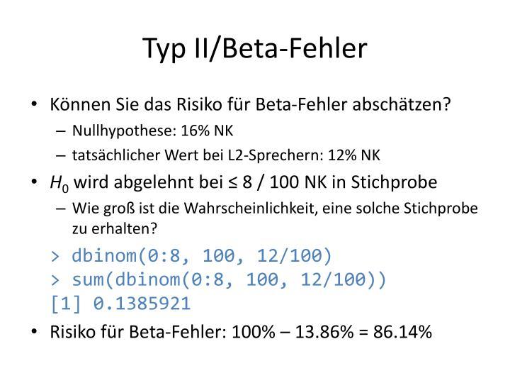 Typ II/Beta-Fehler