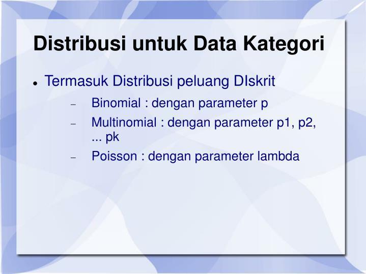 Distribusi untuk Data Kategori