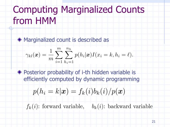 Computing Marginalized Counts from HMM