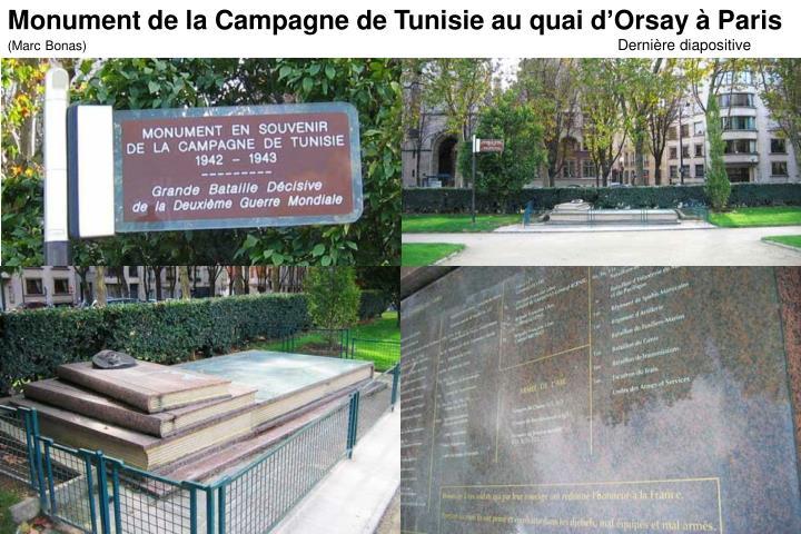 Monument de la Campagne de Tunisie au quai d