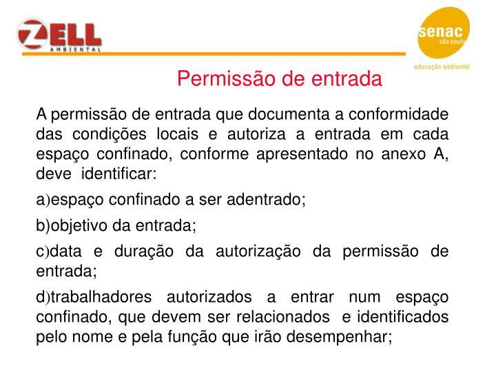 Permissão de entrada