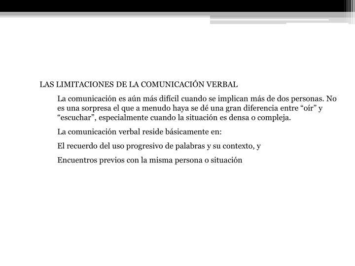 LAS LIMITACIONES DE LA COMUNICACIÓN VERBAL