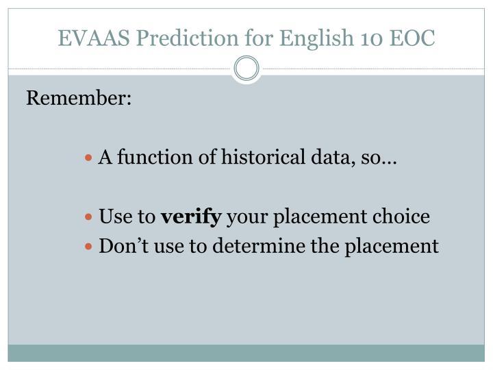 EVAAS Prediction for English 10 EOC