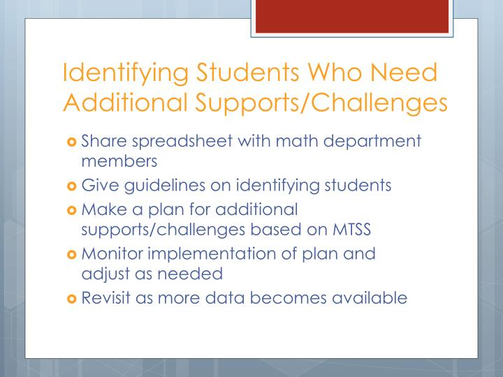 Identifying Students Who Need Additional Supports/Challenges