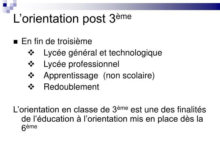 L'orientation post 3