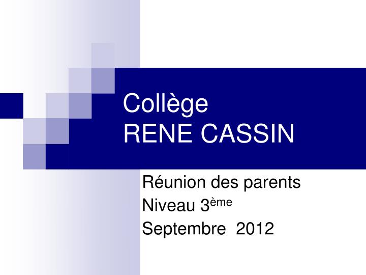 R union des parents niveau 3 me septembre 2012