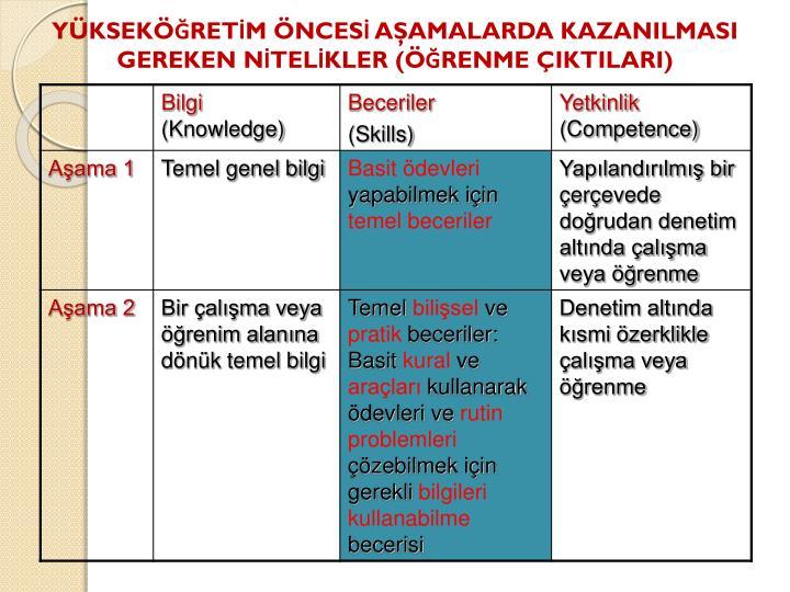 YÜKSEKÖĞRETİM ÖNCESİ AŞAMALARDA KAZANILMASI GEREKEN NİTELİKLER (ÖĞRENME ÇIKTILARI)