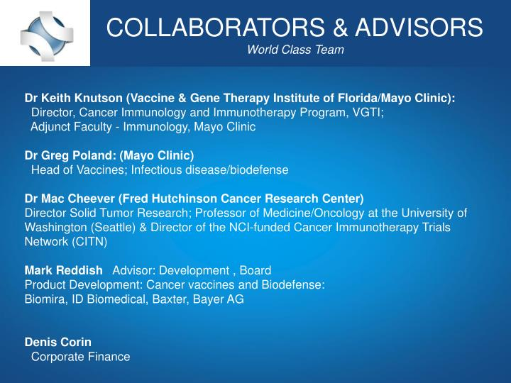 COLLABORATORS & ADVISORS