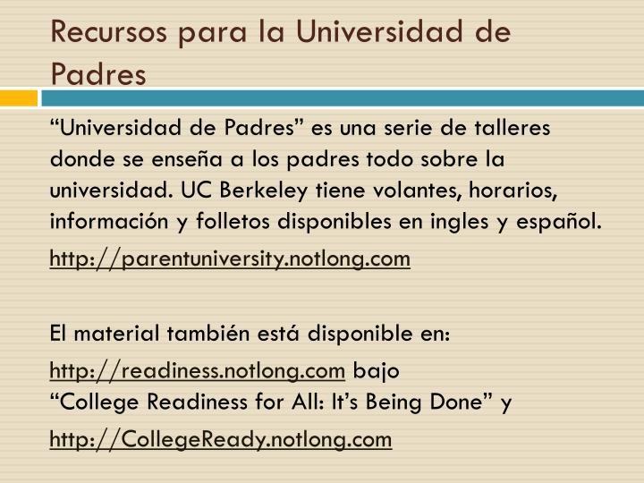 Recursos para la Universidad de Padres