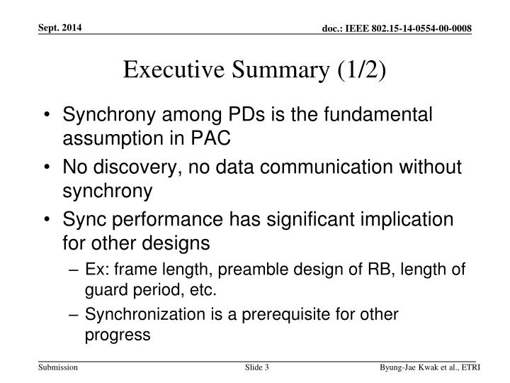 Executive summary 1 2