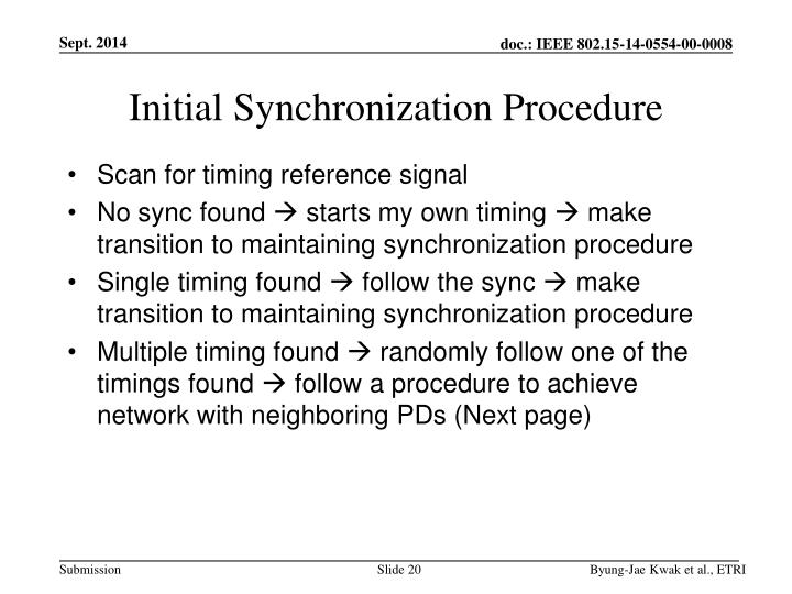 Initial Synchronization Procedure