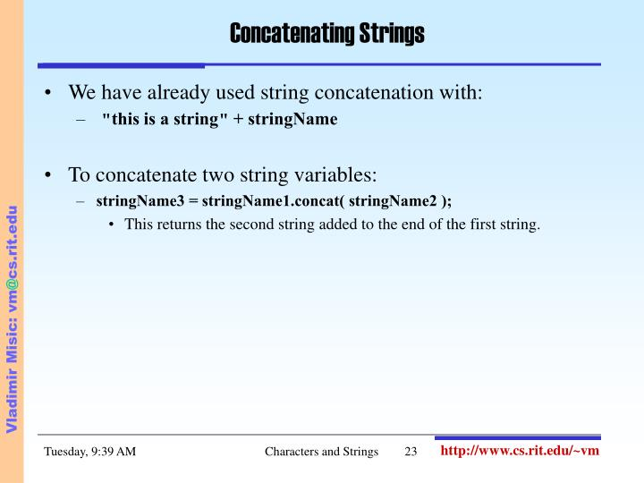 Concatenating Strings
