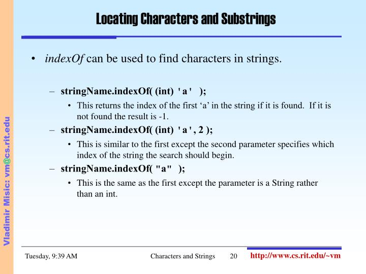 Locating Characters and Substrings