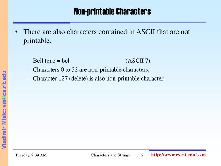 Non-printable Characters