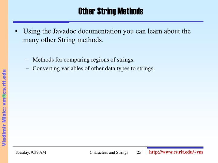 Other String Methods