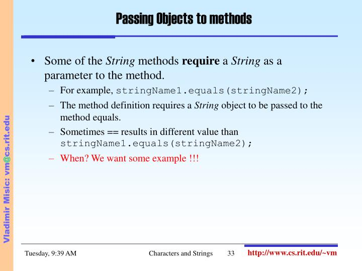 Passing Objects to methods