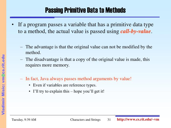 Passing Primitive Data to Methods