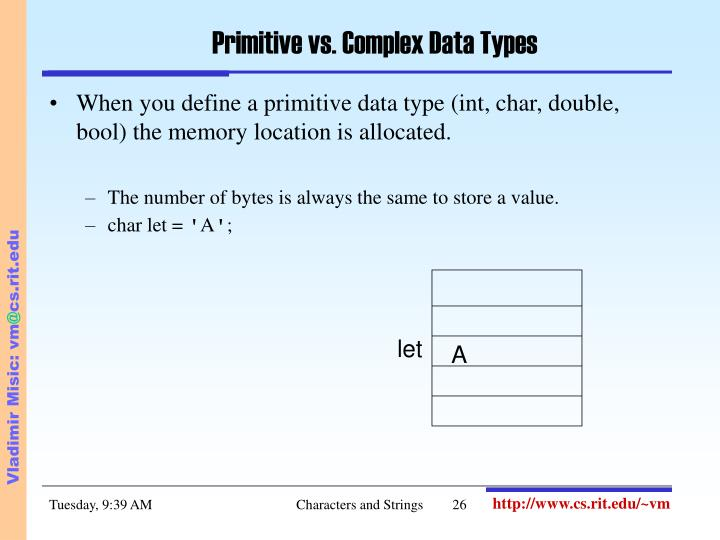 Primitive vs. Complex Data Types