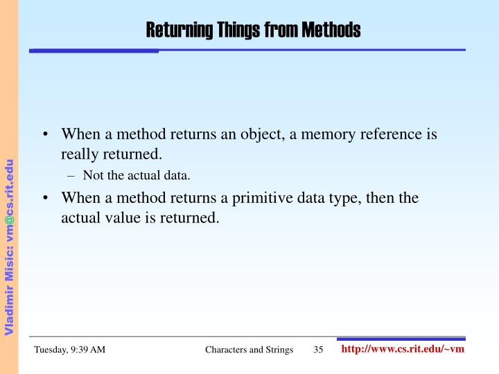 Returning Things from Methods
