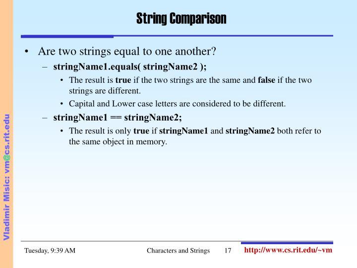 String Comparison