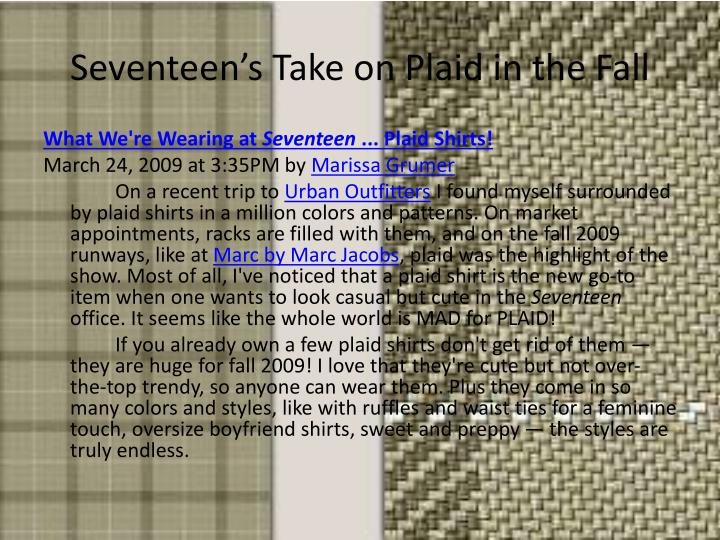 Seventeen's Take on Plaid in the Fall